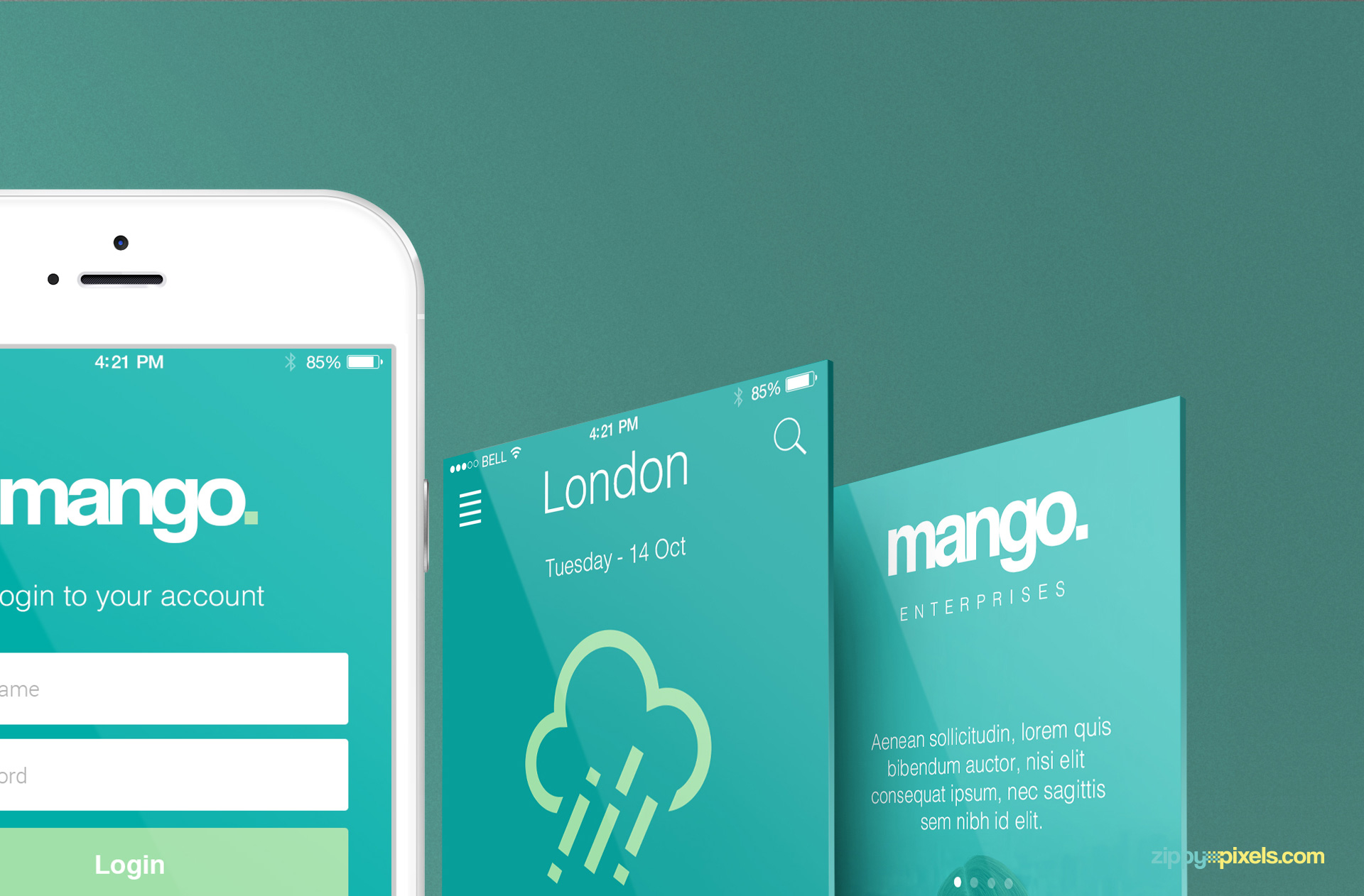 Free iPhone Perspective App Screen Mockup | ZippyPixels