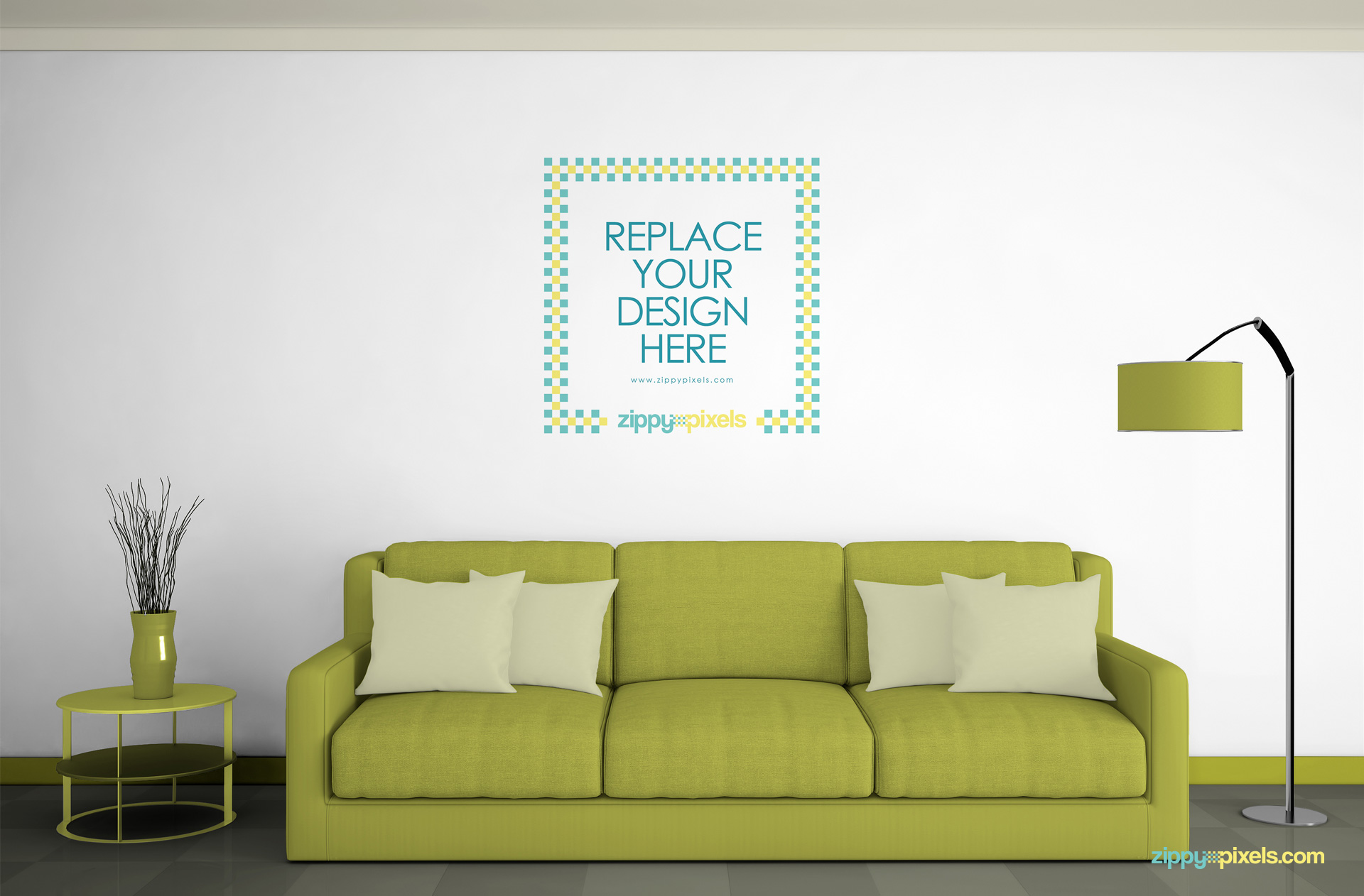 Free wall mockup psd zippypixels for Free interior design ideas for living rooms