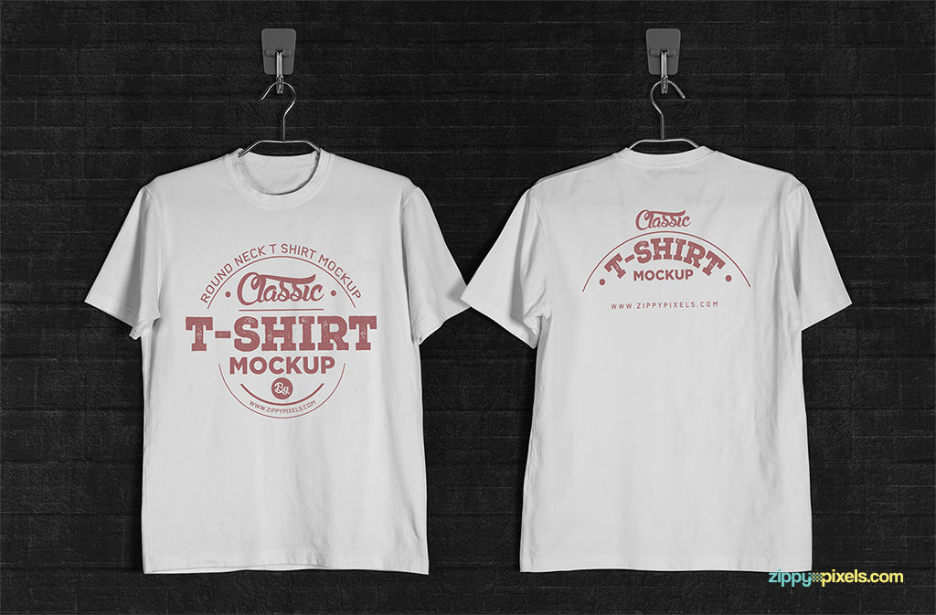 T-shirt mockup in hanging perspective