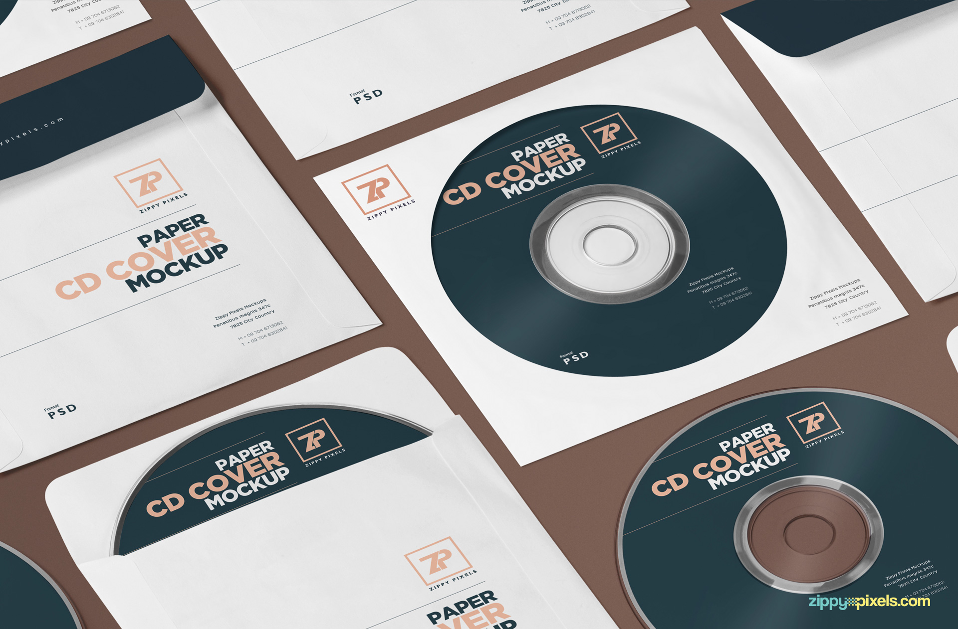 Free CD front label mockup PSD