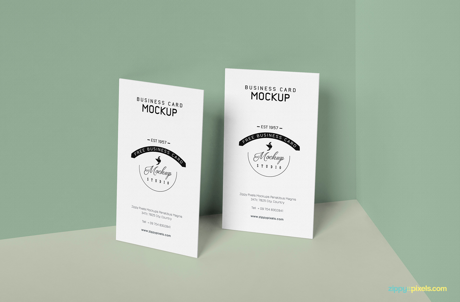 Free business card mockup zippypixels business card mockup vertically standing colourmoves