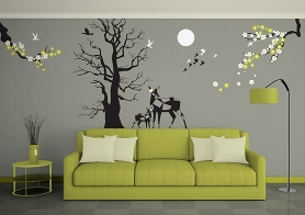 Free Wall Mockup In Gorgeous Living Room Environment