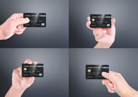 Free Credit Card Mockup With 4 Unique Holding Positions