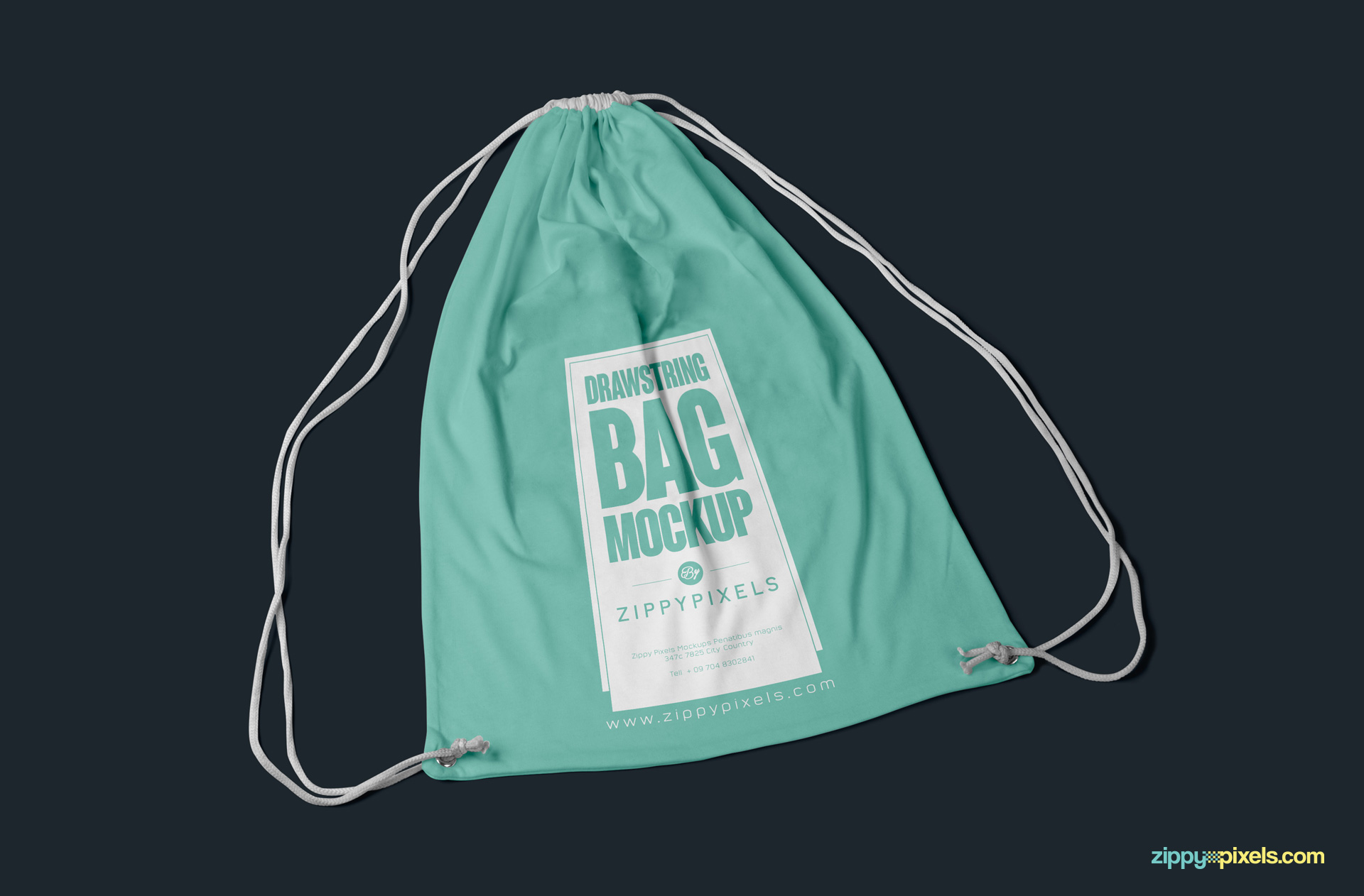 Customizable free drawingstring backpack mockup for branding designs