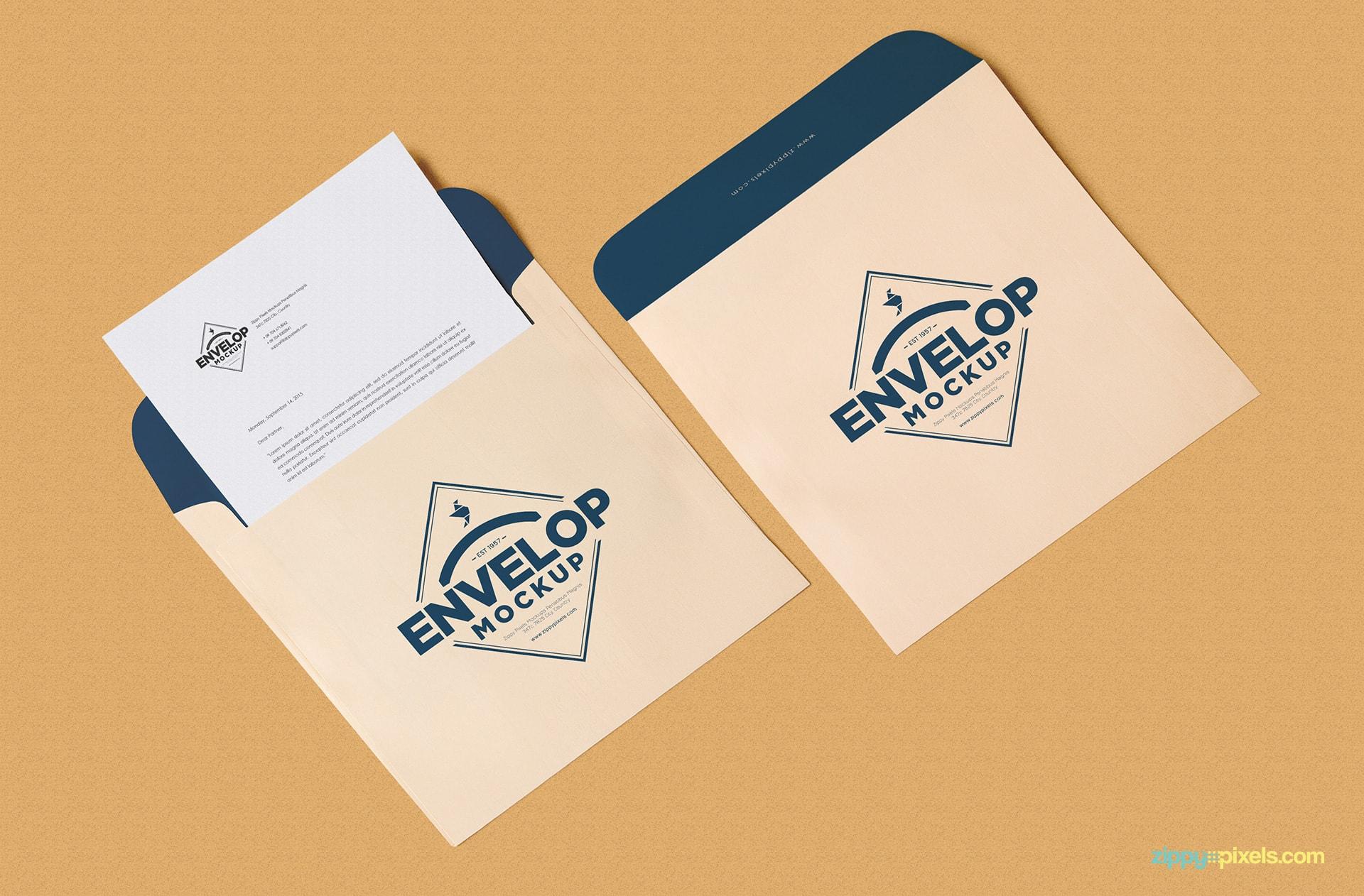 Free Envelope Psd Mockup Letterhead Mockup Zippypixels