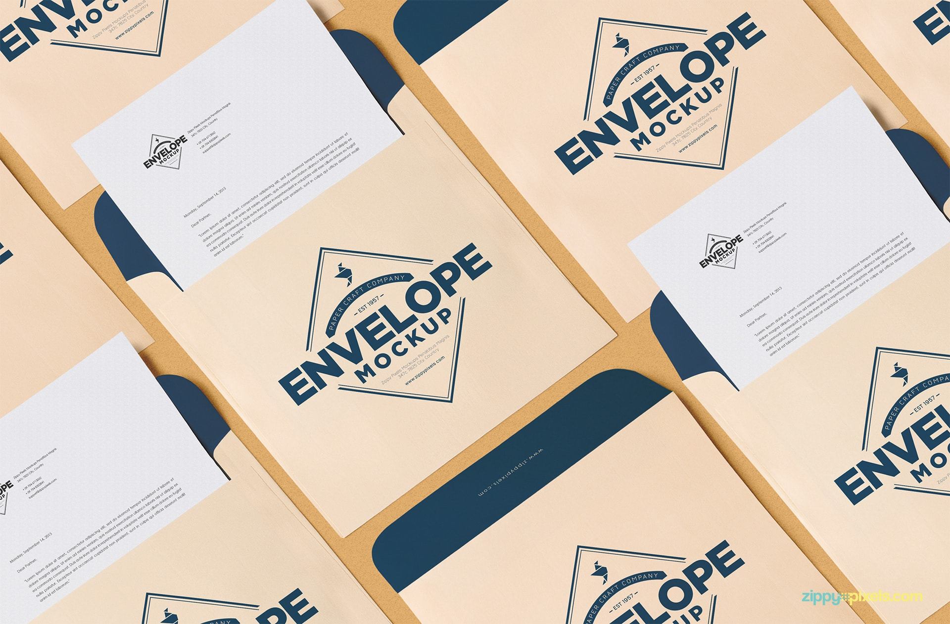 A beautifully arranged composition of the free envelope PSD mockup