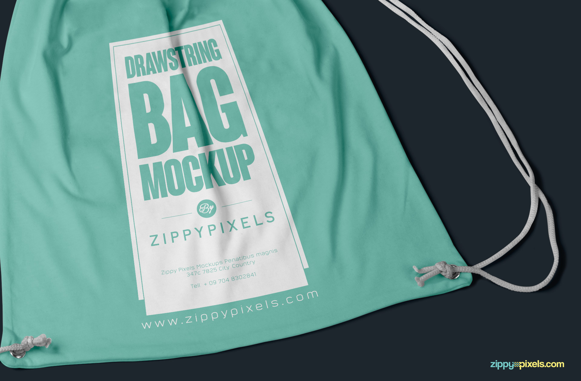 free cinch bag mockup PSD with editable design