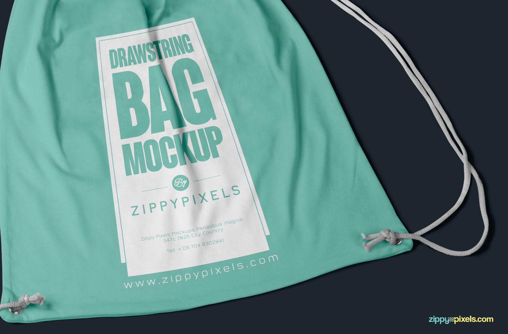 free cinch bag mockup PSD with editable design