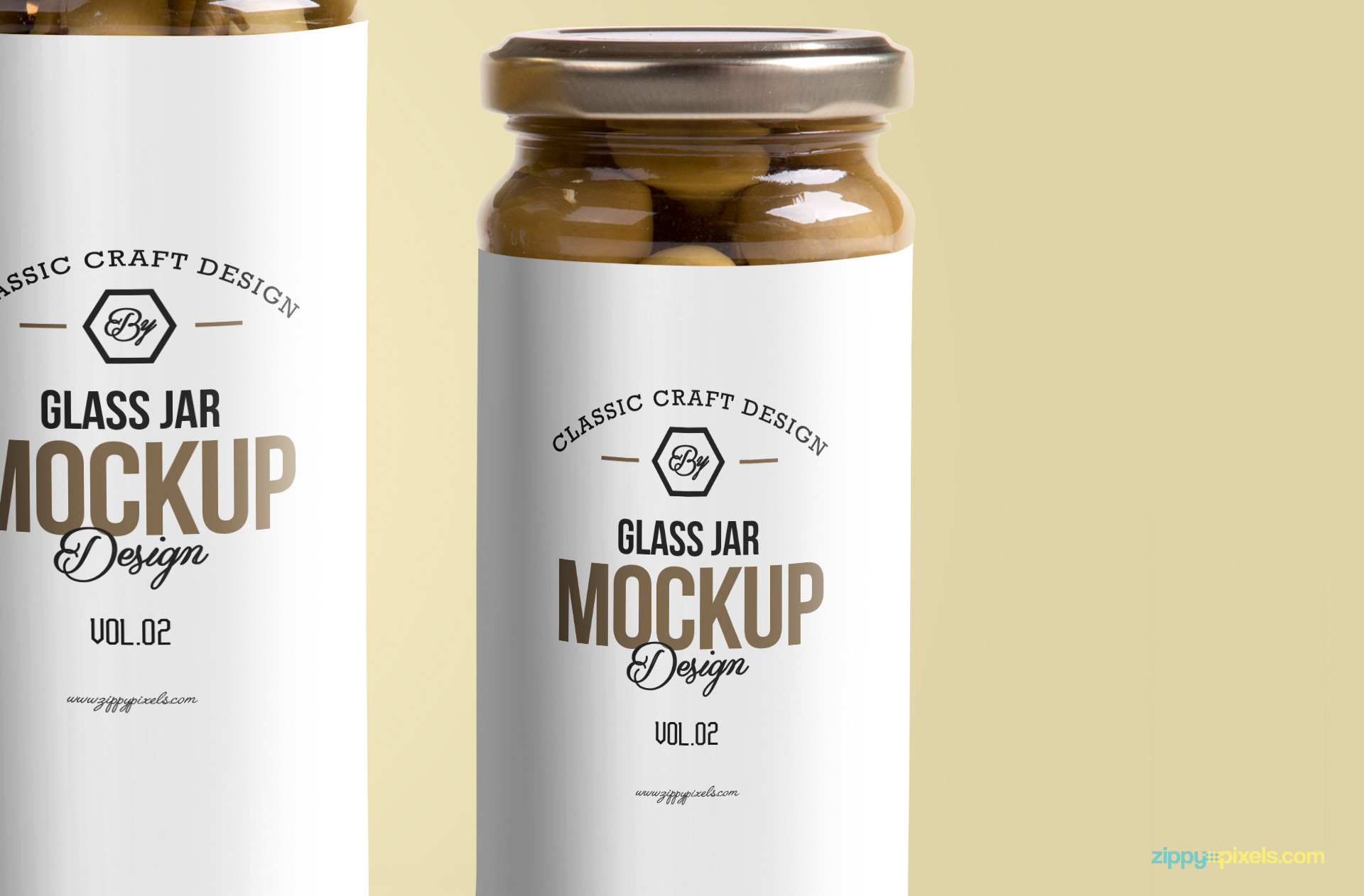 glass jar design mockup for free