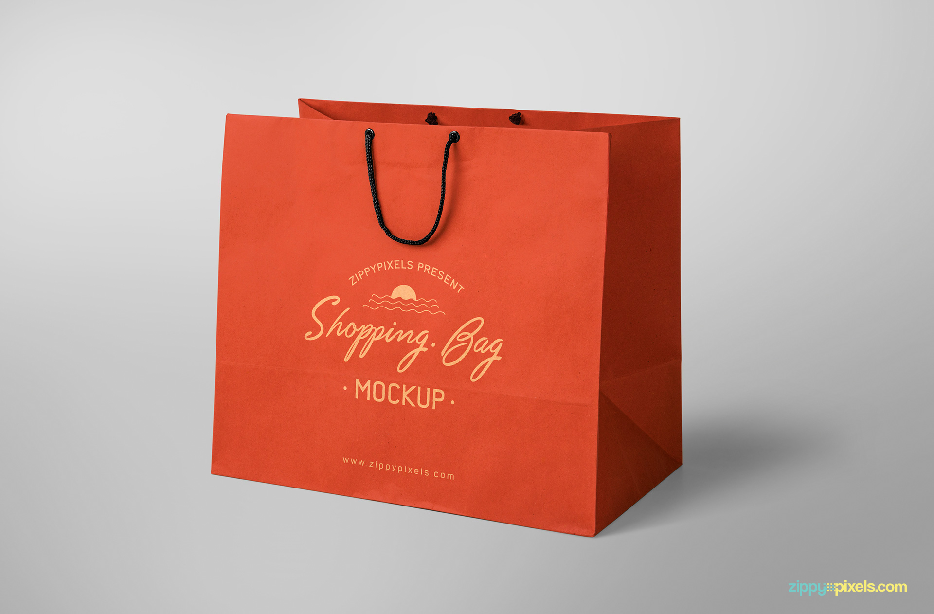 free shopping bag PSD with changeable color schemes