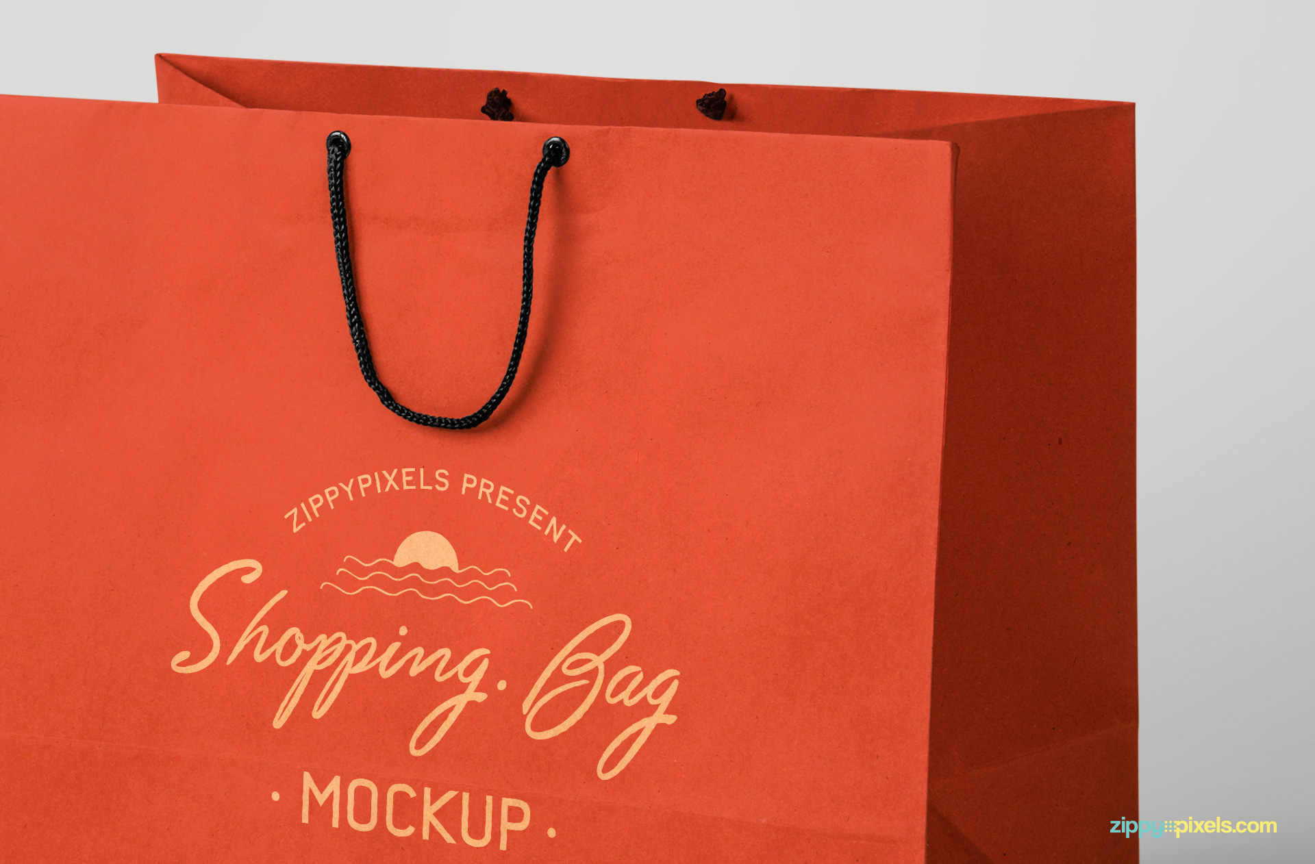 free shooping bag PSD mockup with carrying strings