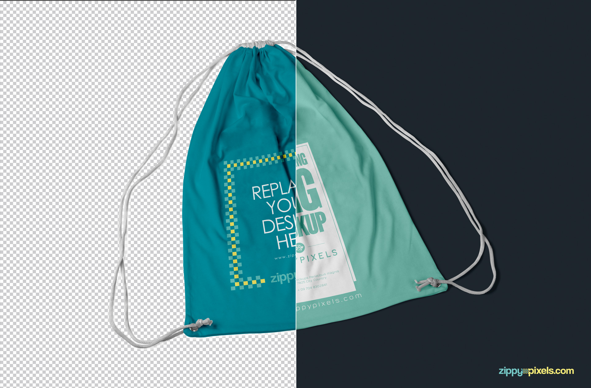 Free Drawstring Backpack Mockup PSD | ZippyPixels