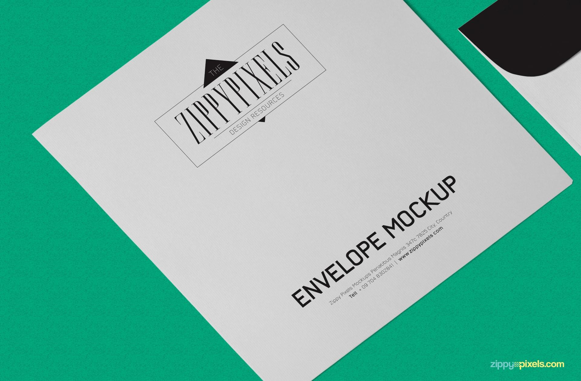 Editable front design of the envelope PSD mockup