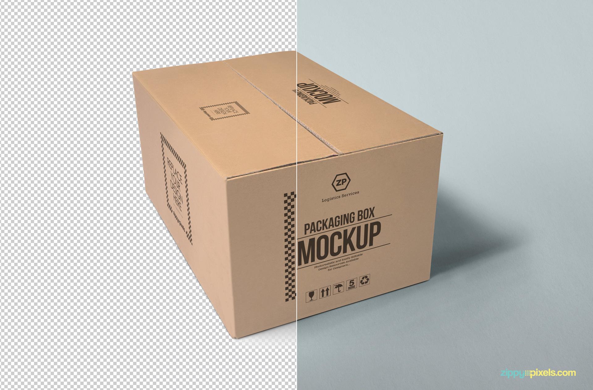 Customizable packaging box psd mockup