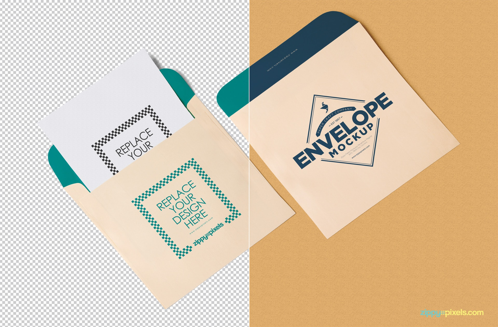 Customizable features of the free envelope and letterhead mockup