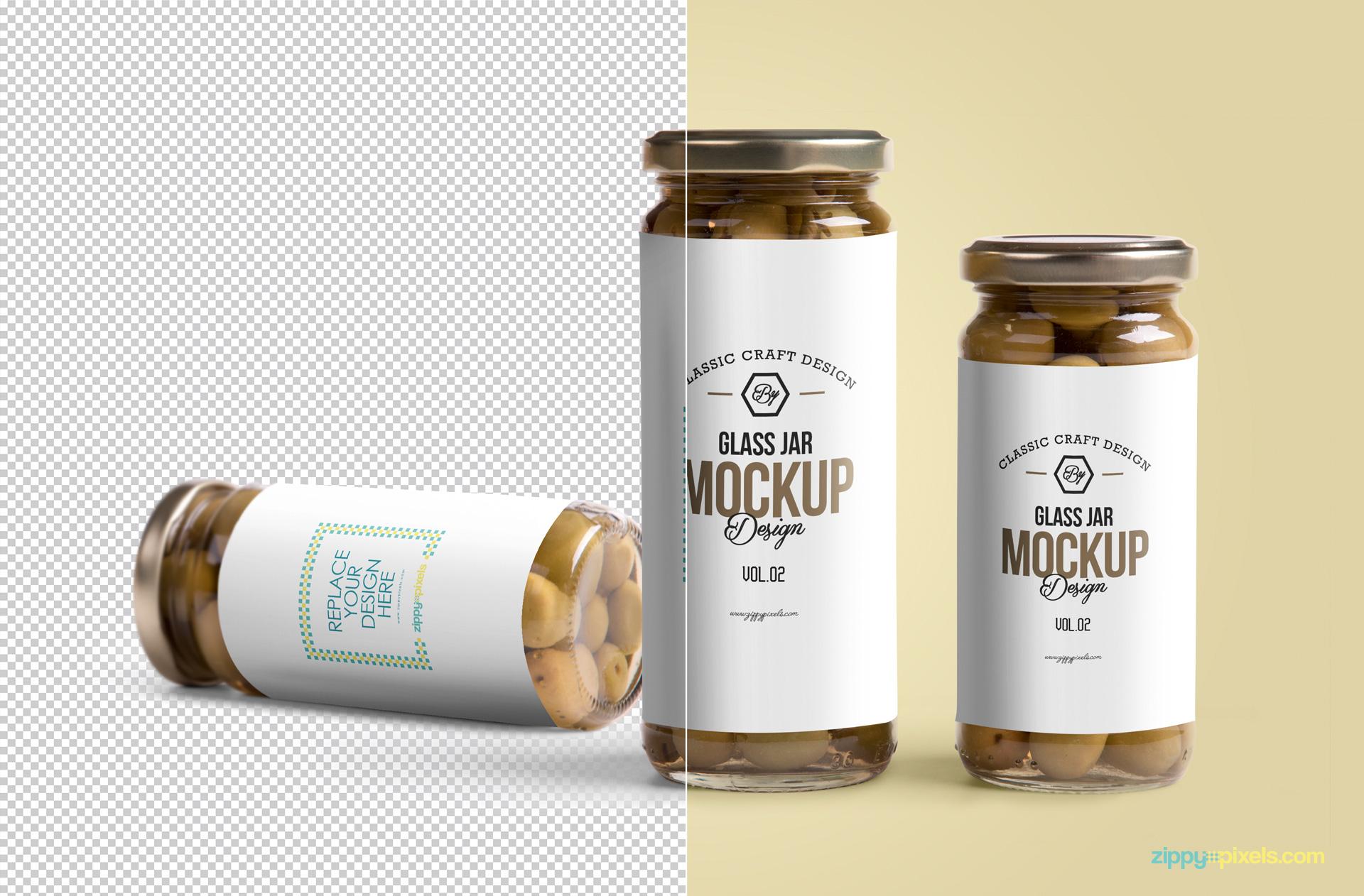 free high-resolution glass jar mockup