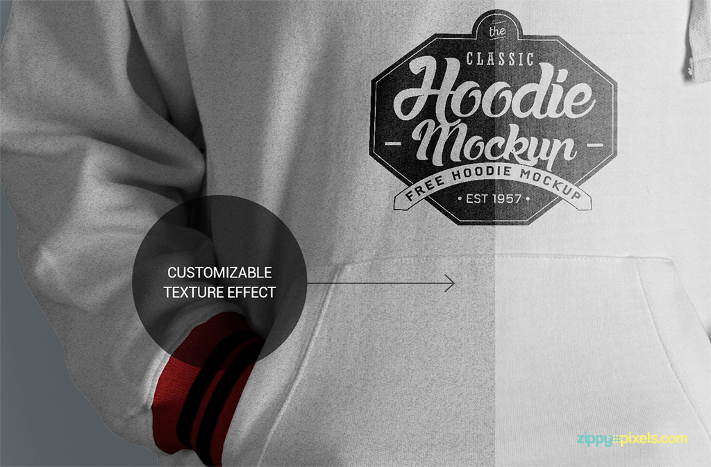 hi-res hoodie mockup with fabric texture effects