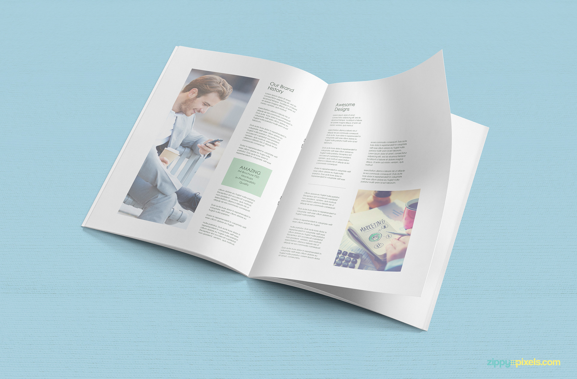 a4 brochure mockup free psd download zippypixels