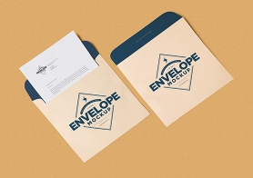 Free Unique Squared Shaped Envelope PSD Mockup + Letterhead Mockup