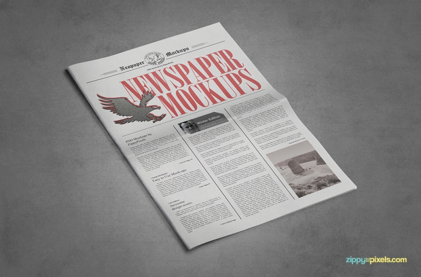 customizable newspaper psd advertisement mockups