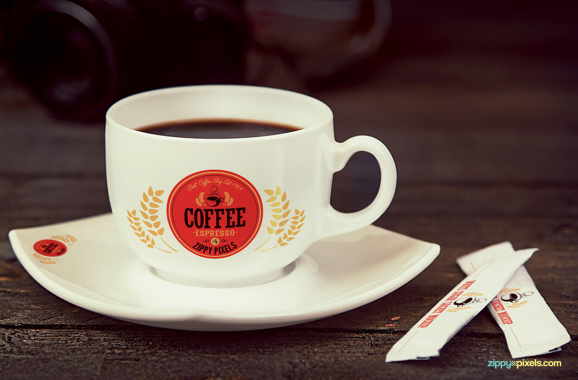 coffee cup and sugar sachet mockup