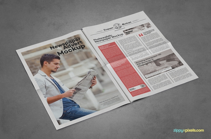 9 newspaper psd advertisement mockups zippypixels for Paper advertisement templates