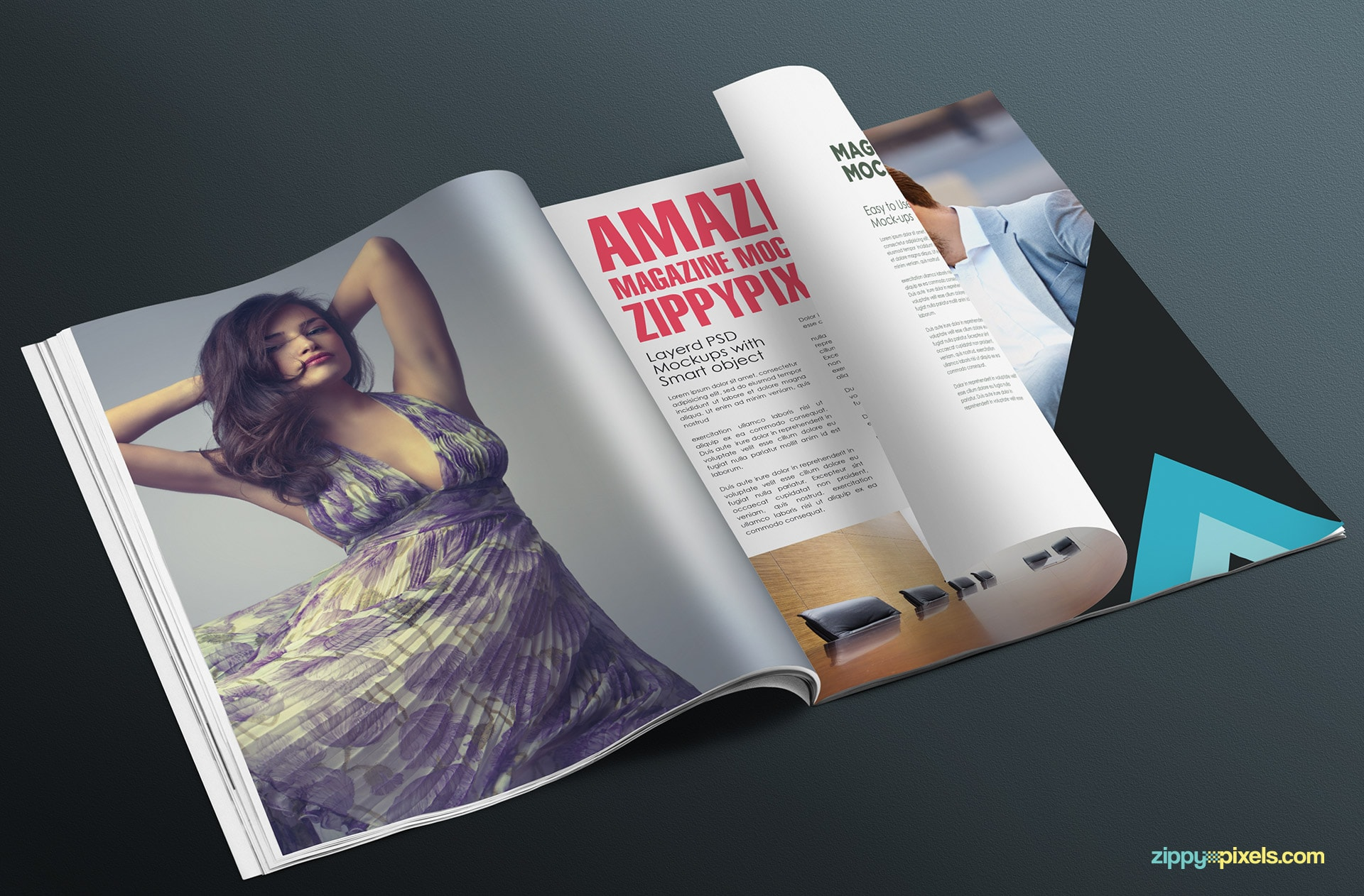 magazine mockups made with smart objects