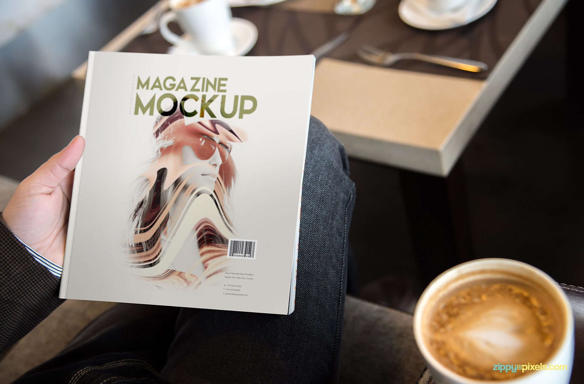cafe themed magazine mock-ups