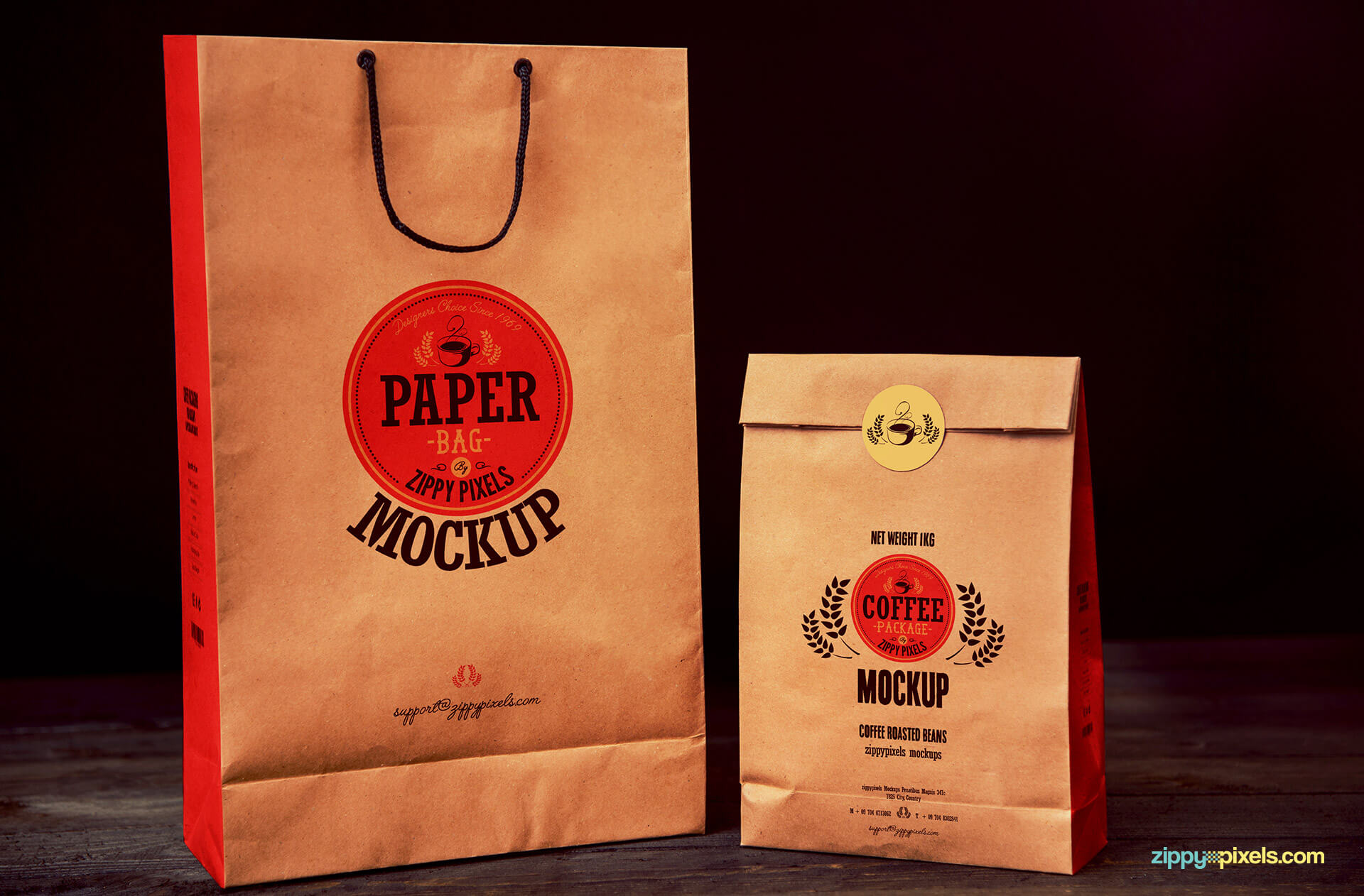 paper coffee bag mock ups for packaging designs