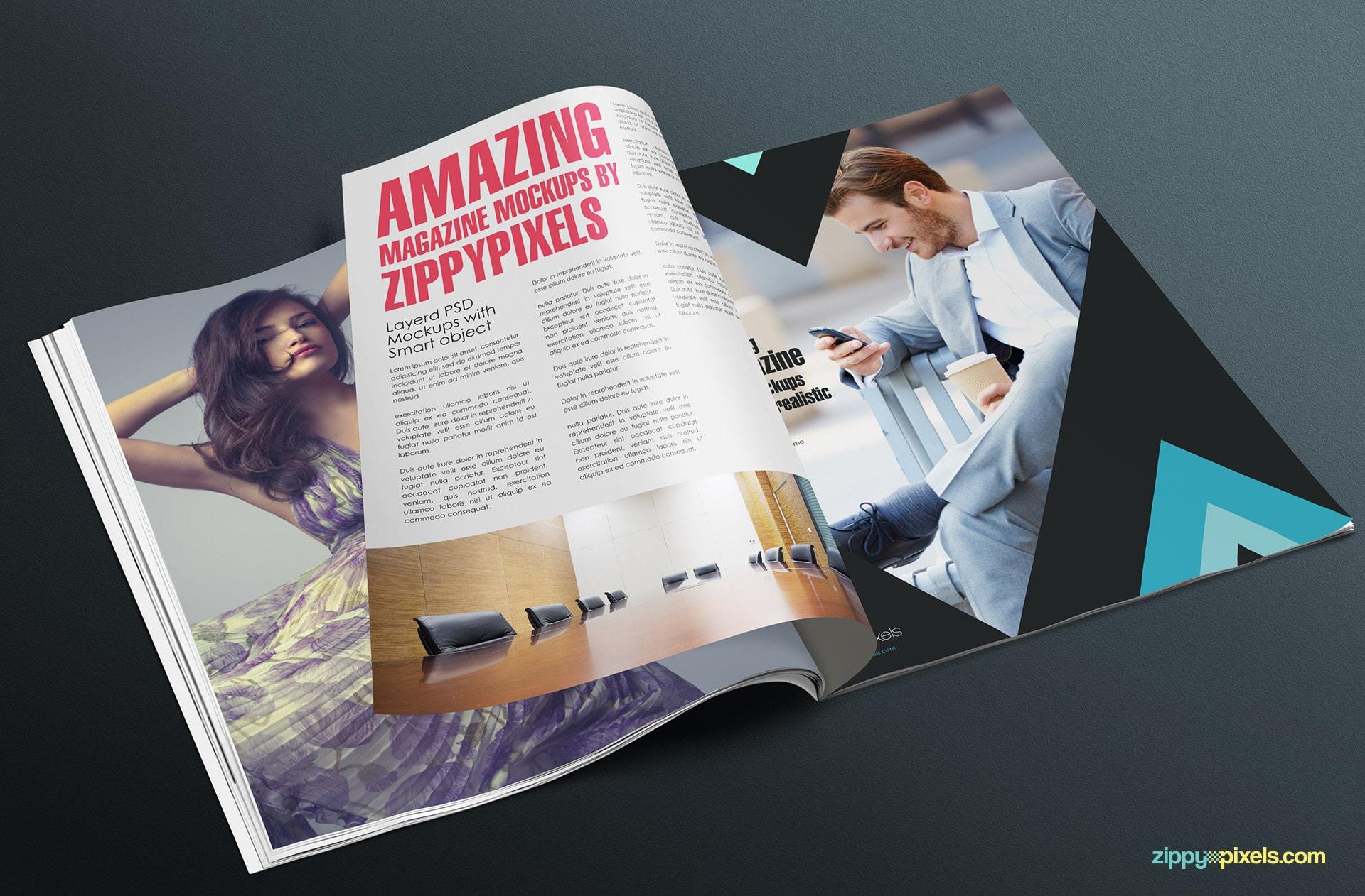 photorealistic magazine mockup psd
