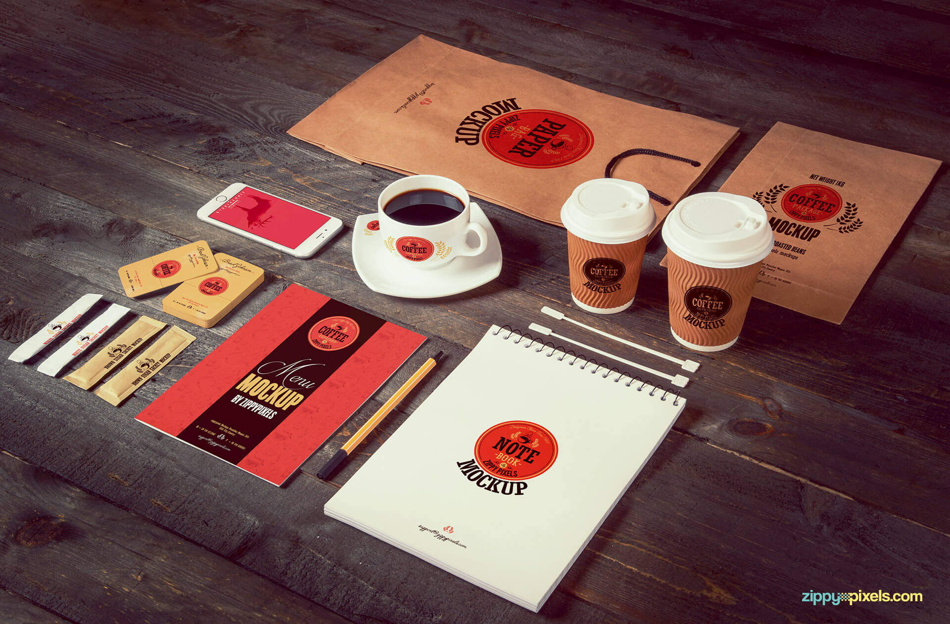 A complete set of coffee related packaging mockups