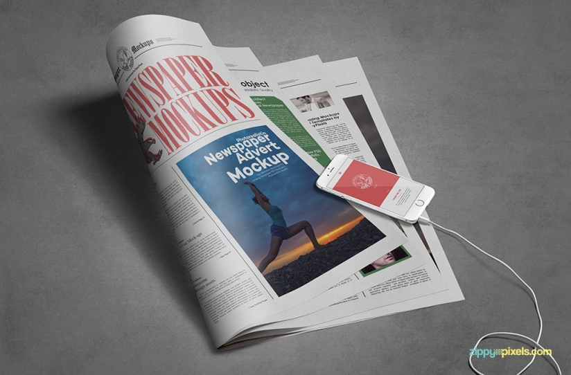 editable newspaper advertising mock-up pack