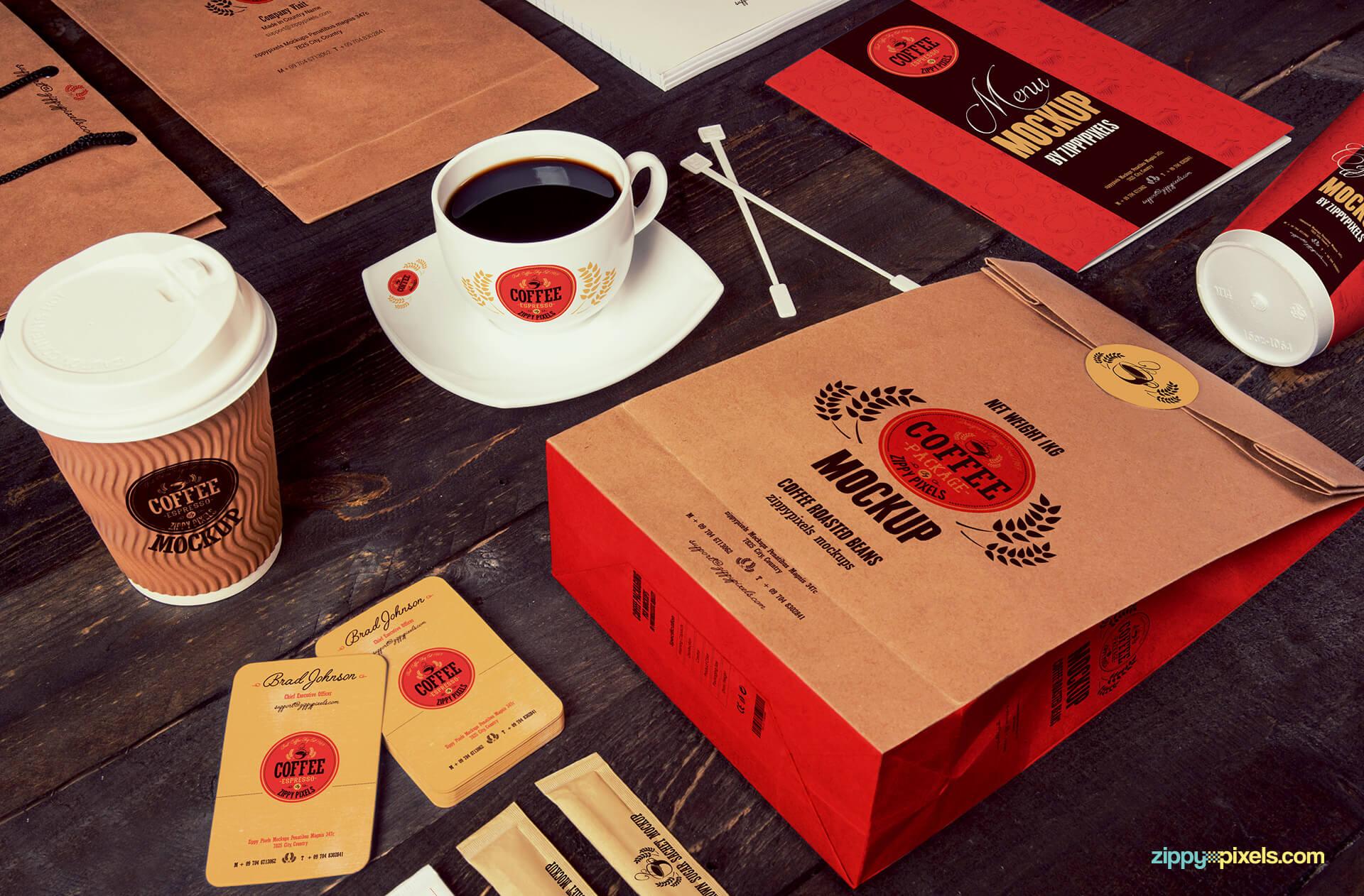 branding coffee mockup psds