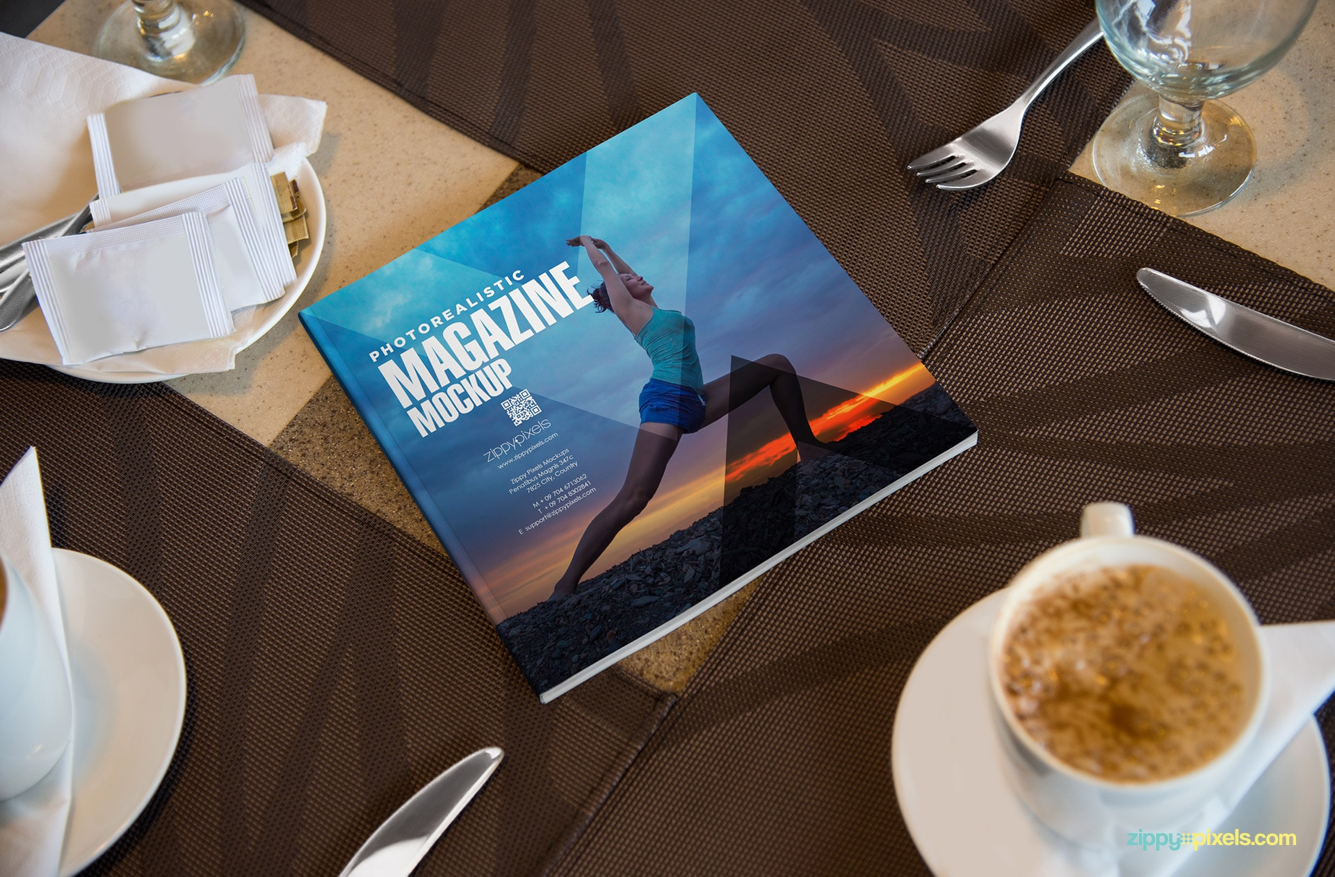 high quality magazine ad mockup PSD