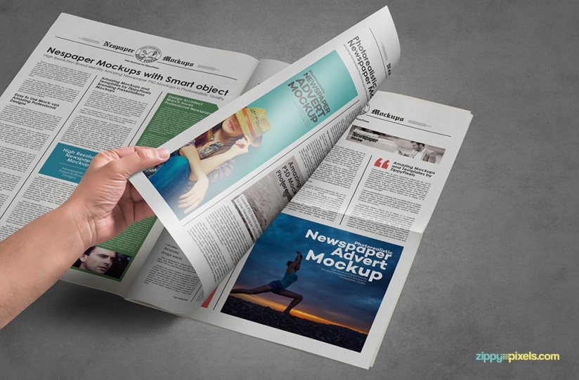 9 vintage style newspaper mockups with ads