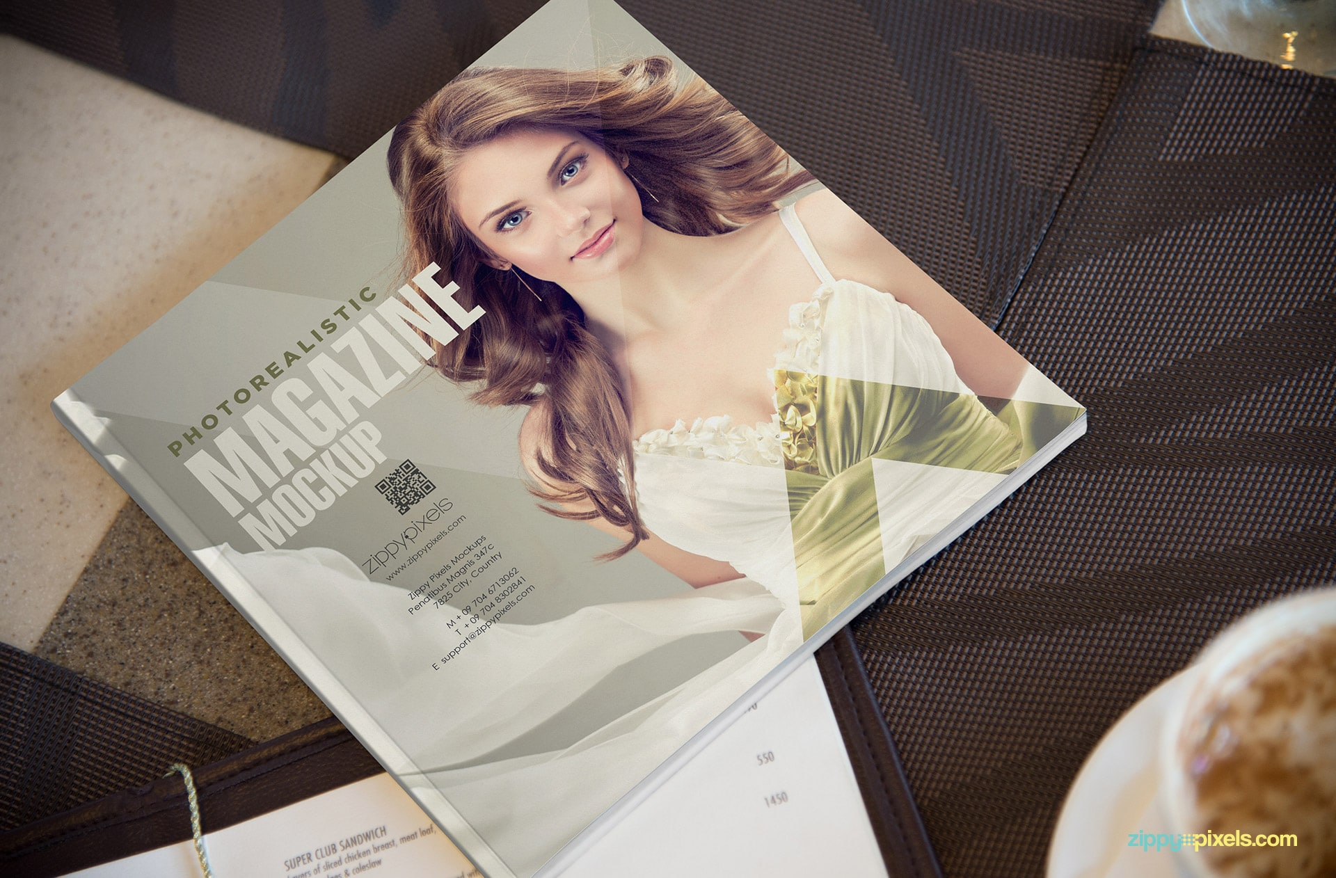 unique square shaped magazine mockup with gloss effect