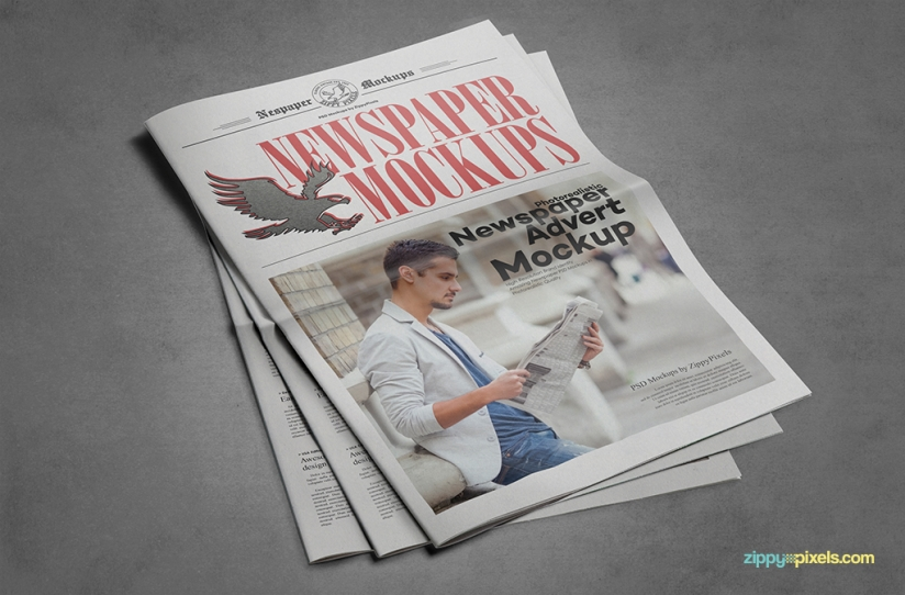 stacked newspaper mock ups with editable backgrounds
