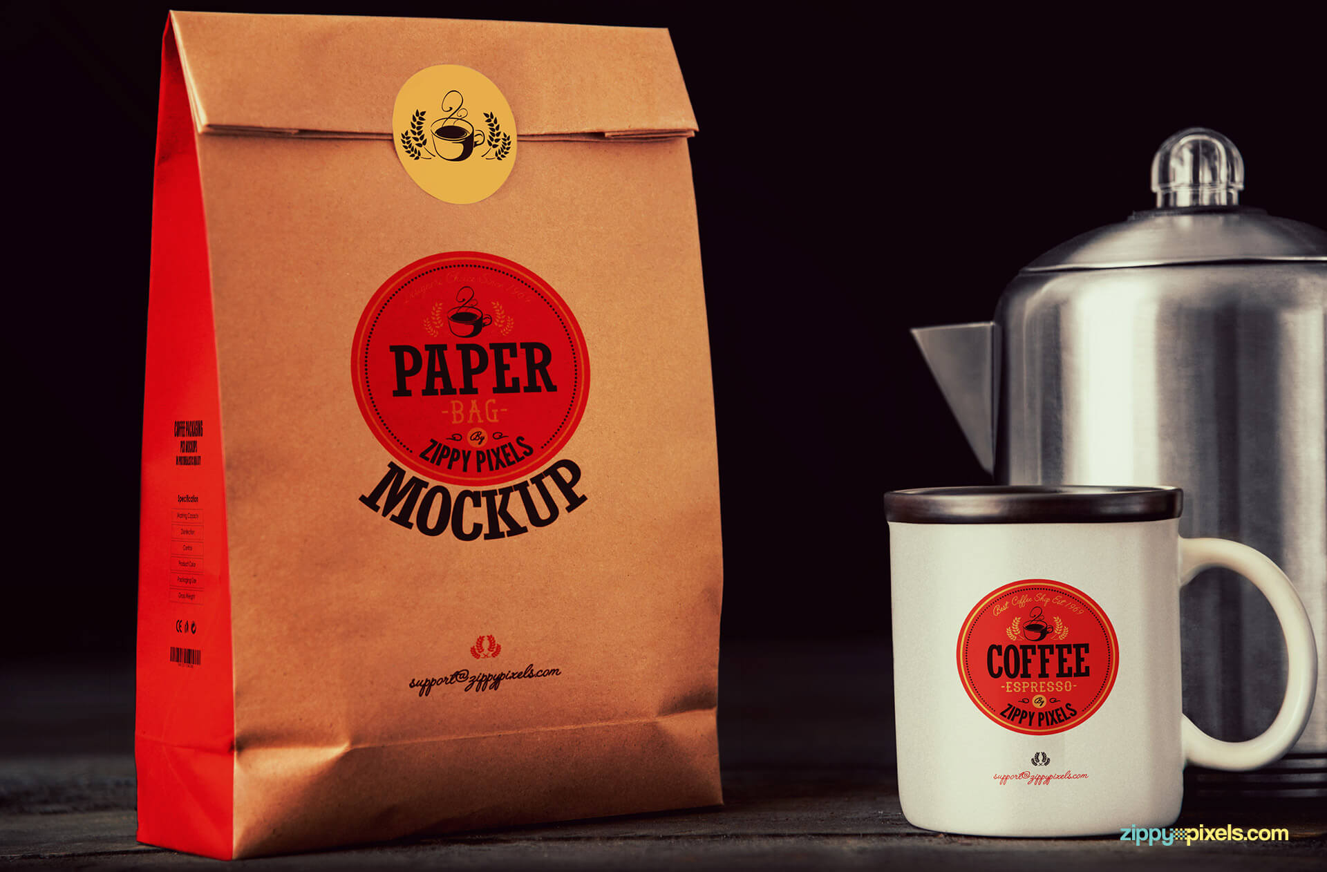 PSD coffee bag and mug mockup