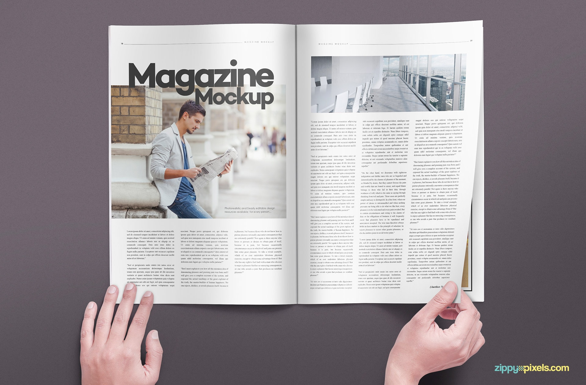 magazine psd mockups with handheld positions