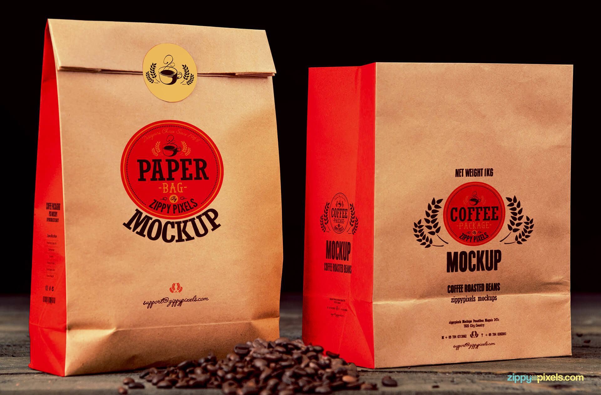 coffee paper bag logo mockups