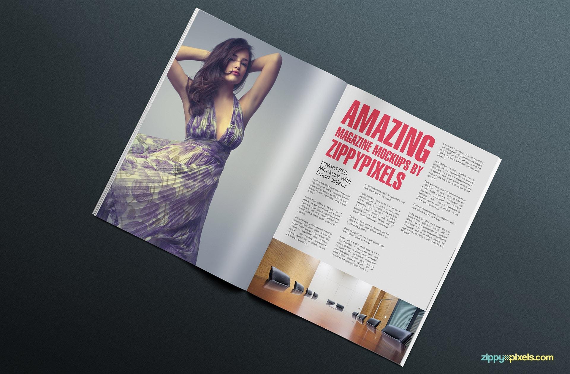 showcase your spread editorial designs realistically