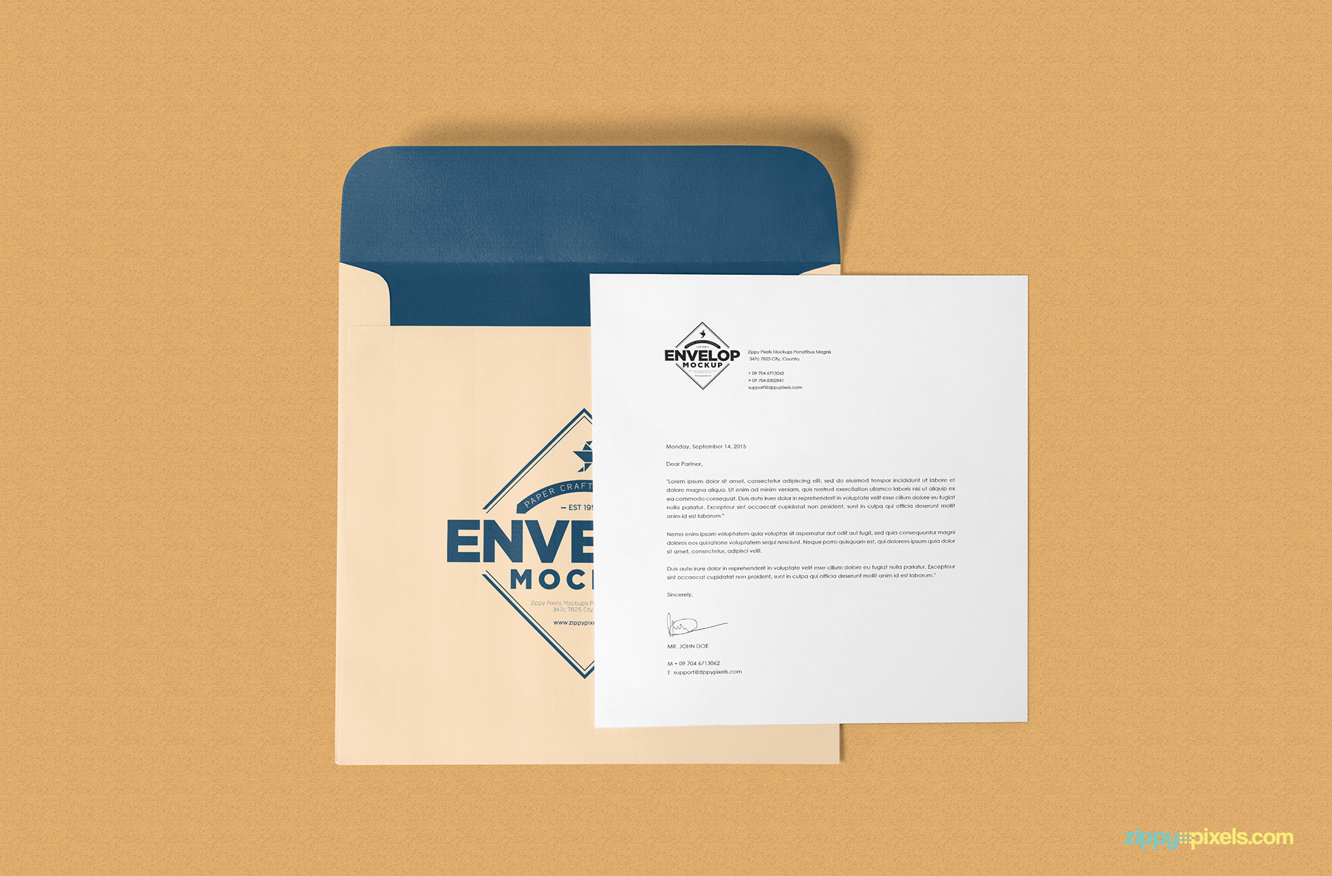 Free envelope psd mockup letterhead mockup zippypixels envelope mockup open with invitation card stopboris Image collections