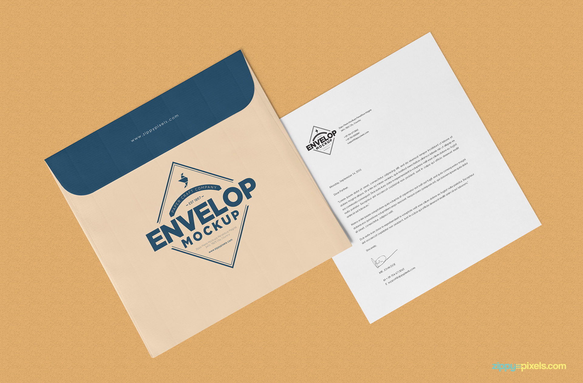 free envelope psd mockup   letterhead mockup