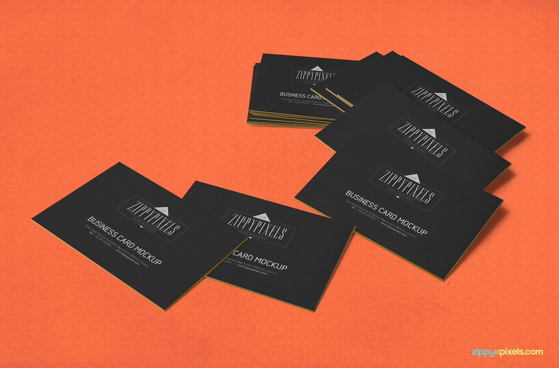 Free business card psd mockup zippypixels 4 bonus mockups included in commercial license stacked business card card scattered colourmoves