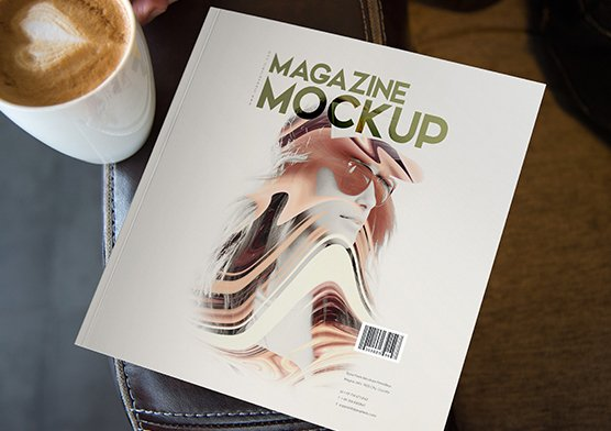 indoor square magazine mockups in PSD file format