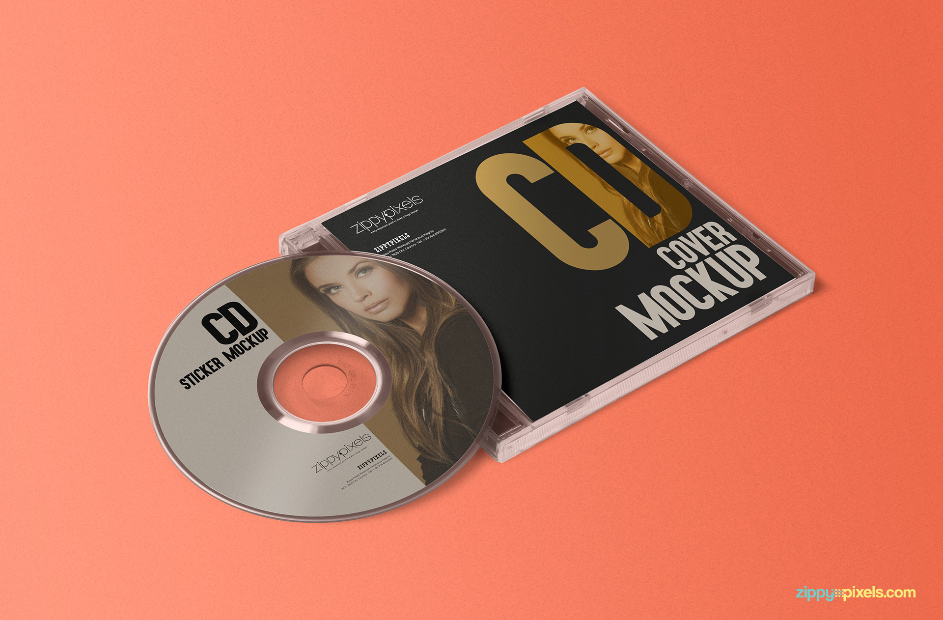 best free cd jewel case and label sticker mockup psd