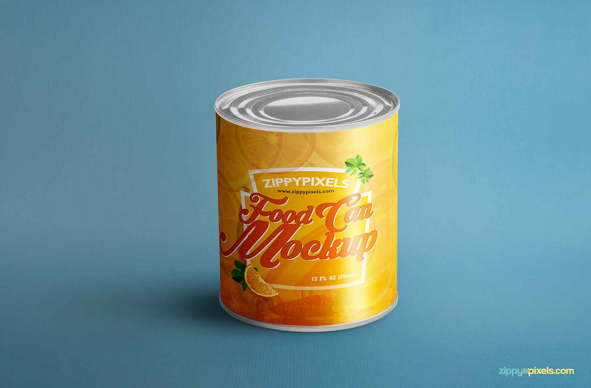full view of the free food can mock-up