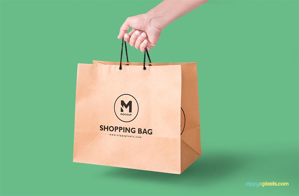 free paper bag mockup for packaging designs