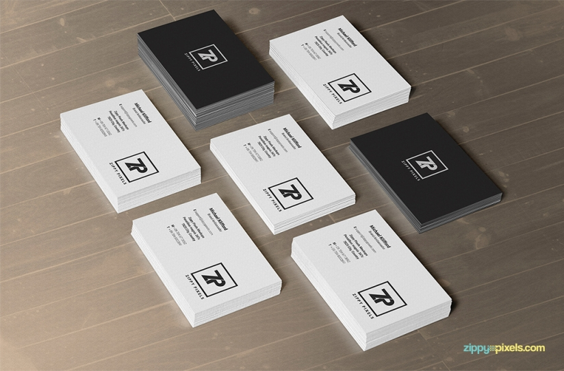 free psd business card mockup in stacks