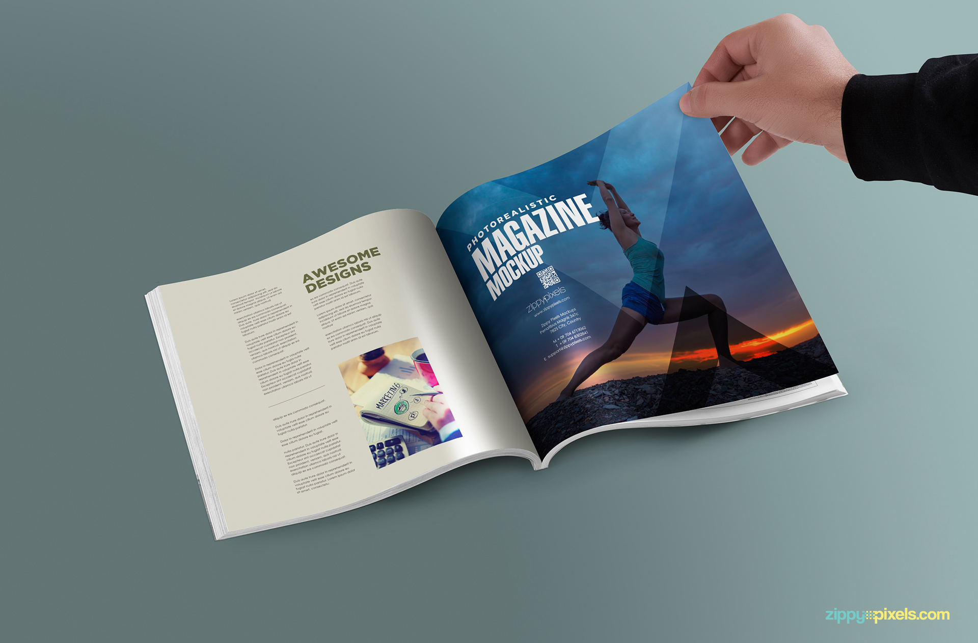 free psd magazine mockup in square layout